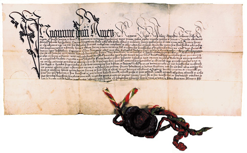 Dvarų dovanojimo aktas. Gardinas, 1465 balandžio 16 d.
