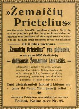 """Laikraštė """"Žemaičių prietelius"""" skyrelė """"Žemaitėška pastuogė"""" tekstā (Patarlės ė priežuodē)"""